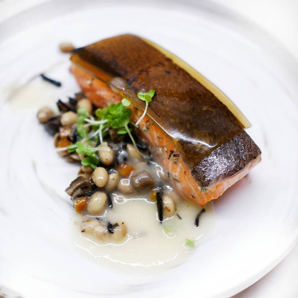 Slowcooked salmon trout with soybean and hijiki salad on ahellip