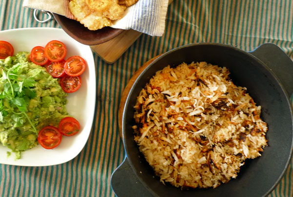 Colombian caribbean toasted coconut rice