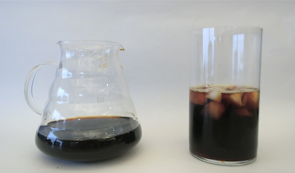 Hario cold brewed coffee, made with the Graffeo Organic Fair Trade blend
