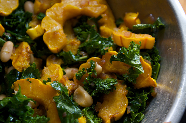 butternut squash kale cannellini salad