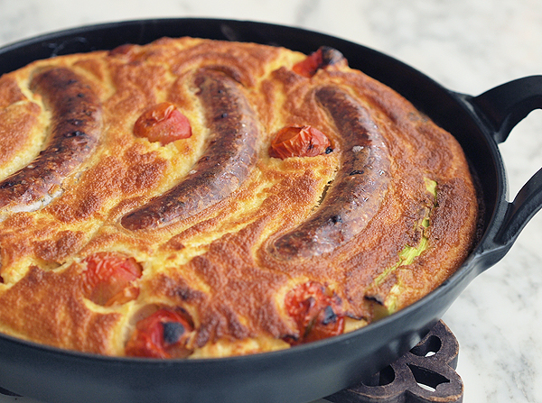 Savoury Pudding with Sausage & Tomato