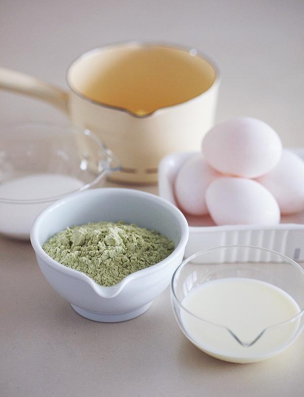 Japanese matcha roll cake ingredients