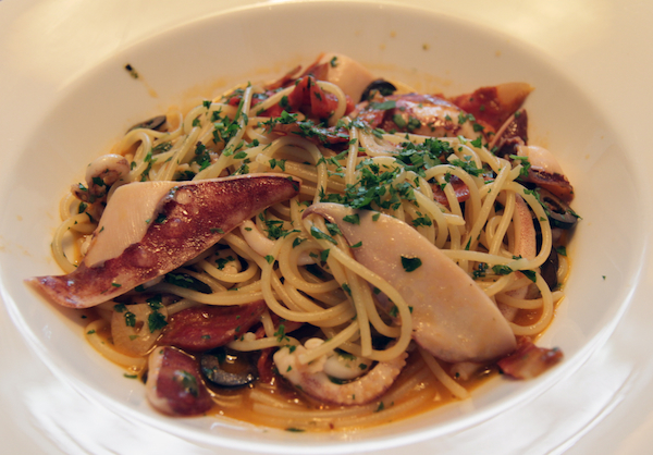 Gattopardo's addictive spaghetti with calamari, chorizo, and black olives, from their set lunch
