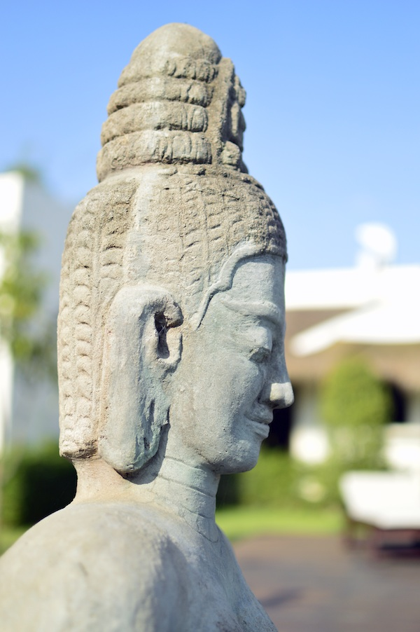 A stone sculpture at the pool in Navutu Dreams Resort