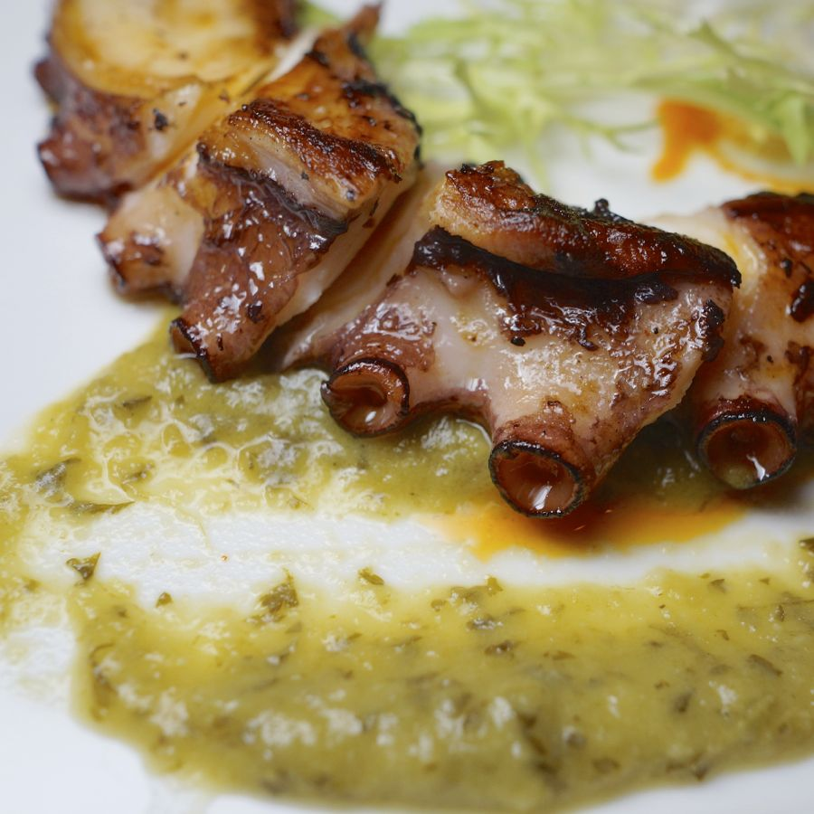 Grilled Atlantic Octopus With red and green pepper purée.
