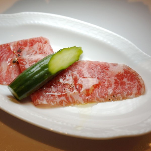 Soft, tender wagyu with pickled gherkin