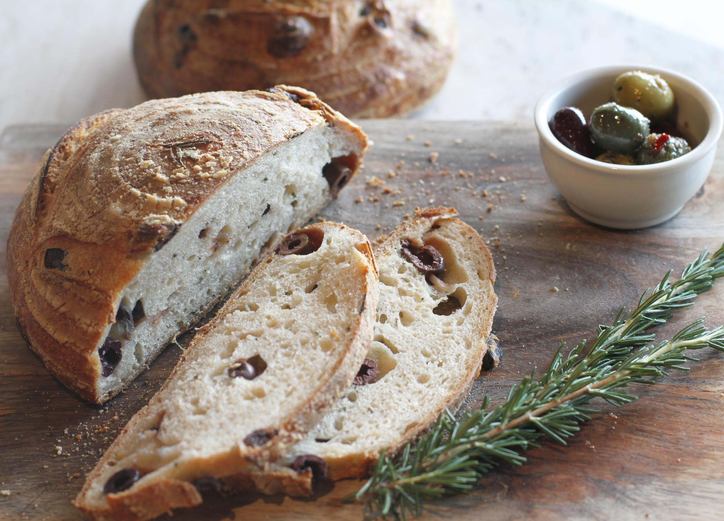 olive bread, olives and rosemary