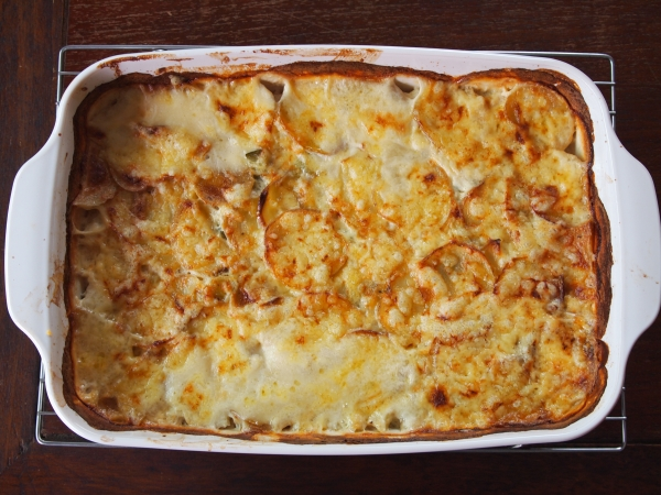 Leek and potato gratin