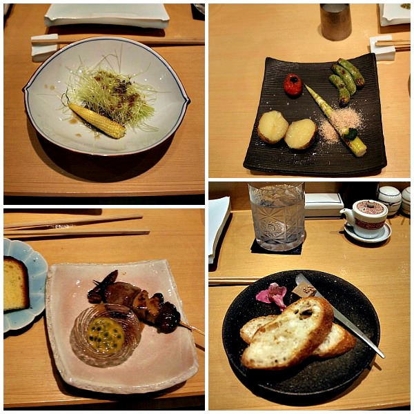 Shinka Food: corn husk, veggies, organ skewer, pate