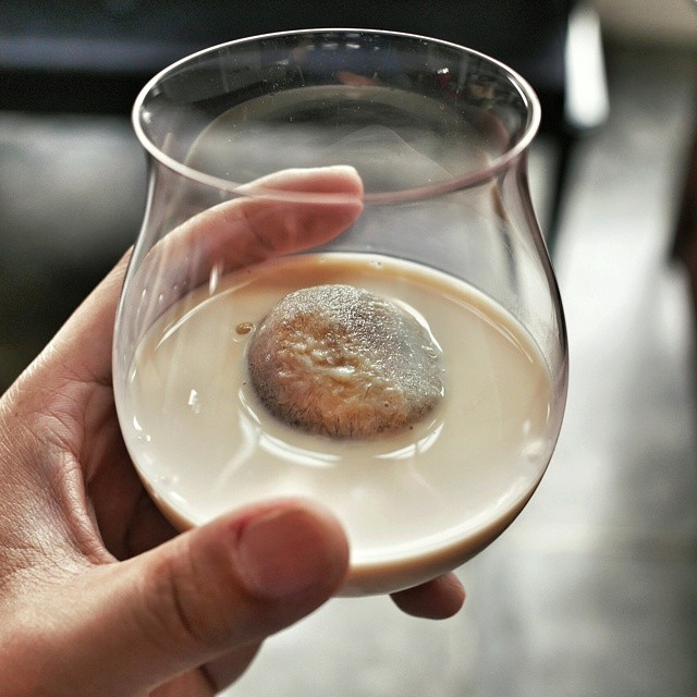 Yummy milky iced coffee. Made sweetened cold brew coffee ice spheres. Put that in a glass with some organic milk and enjoy very slowly. Perfect for a public holiday morning. #coffee #coldbrew #icedcoffee #coffeeicecubes #goodmorning #pickmeup #drinkslowly #happyhariraya