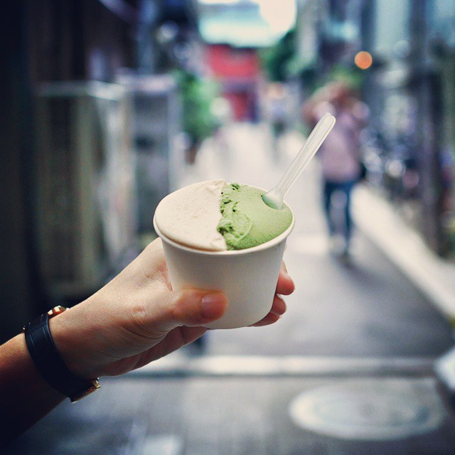 Landed this afternoon in Tokyo. First thing the pregnant wifey insisted on eating? Green tea and soy bean ice cream. Excellent gelato stall in Asakusa. #foodie #foodphotography #dessert #delicious #sweettreat #icecream #gelato #sgeats