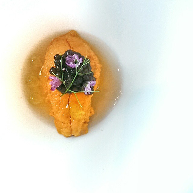 Lunch today at JAAN Singapore. Lovely little uni (sea urchin) course, served under caviar and over botan shrimp. Yum. Great job by @chef_julien #sgfood #foodie #foodporn #sgrestaurants #singaporerestaurants #singapore #restaurant #sgeats #foodphotography #jaansg #jaanrestaurant #uni #seaurchin #uniporn #caviar