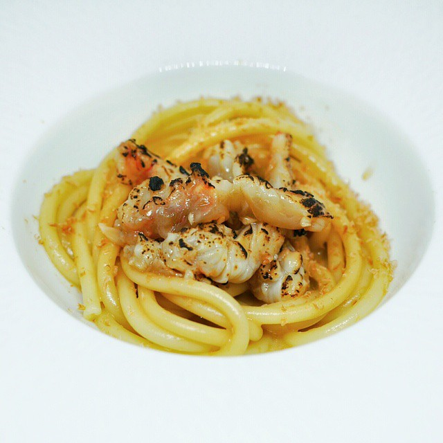 Seafood pasta created for my mother's birthday. Bigoli tossed in crab jus, topped with grated dried octopus roe, and served with blow-torched botan ebi (spot prawns). #foodie #foodporn #foodphotography #homecooking #onthetable #instafood #foodstagram #entertaining #botanebi #octopus #pasta