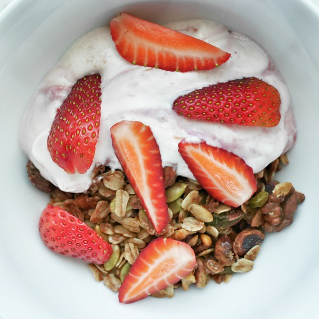 Keeping #healthy. #homemade #granola and yogurt with #fresh #strawberries for #brekkie. #foodie #foodporn #foodphotography #sgeats #breakfast #goodmorning #whati8today #onthetable #instafood #foodstagram #igsg