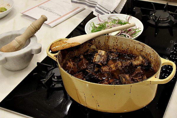 Pot of sticky short ribs