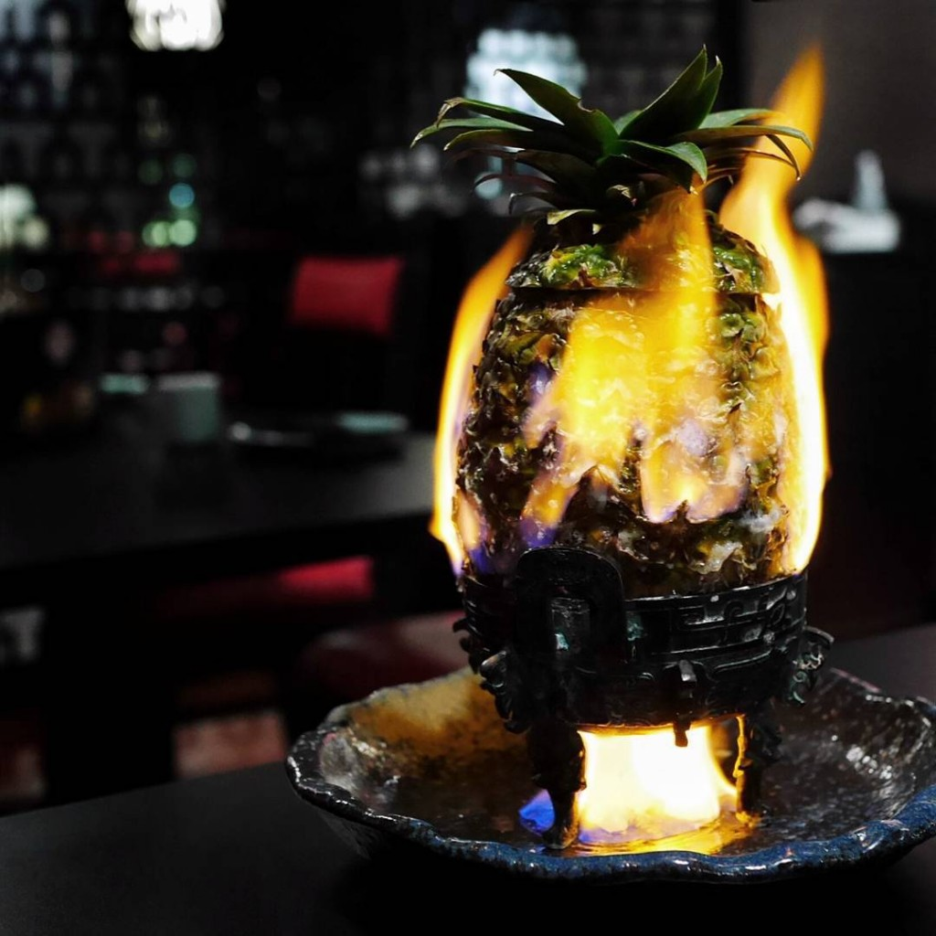Flaming pineapple at Lok Kee Total throwback to the earlyhellip