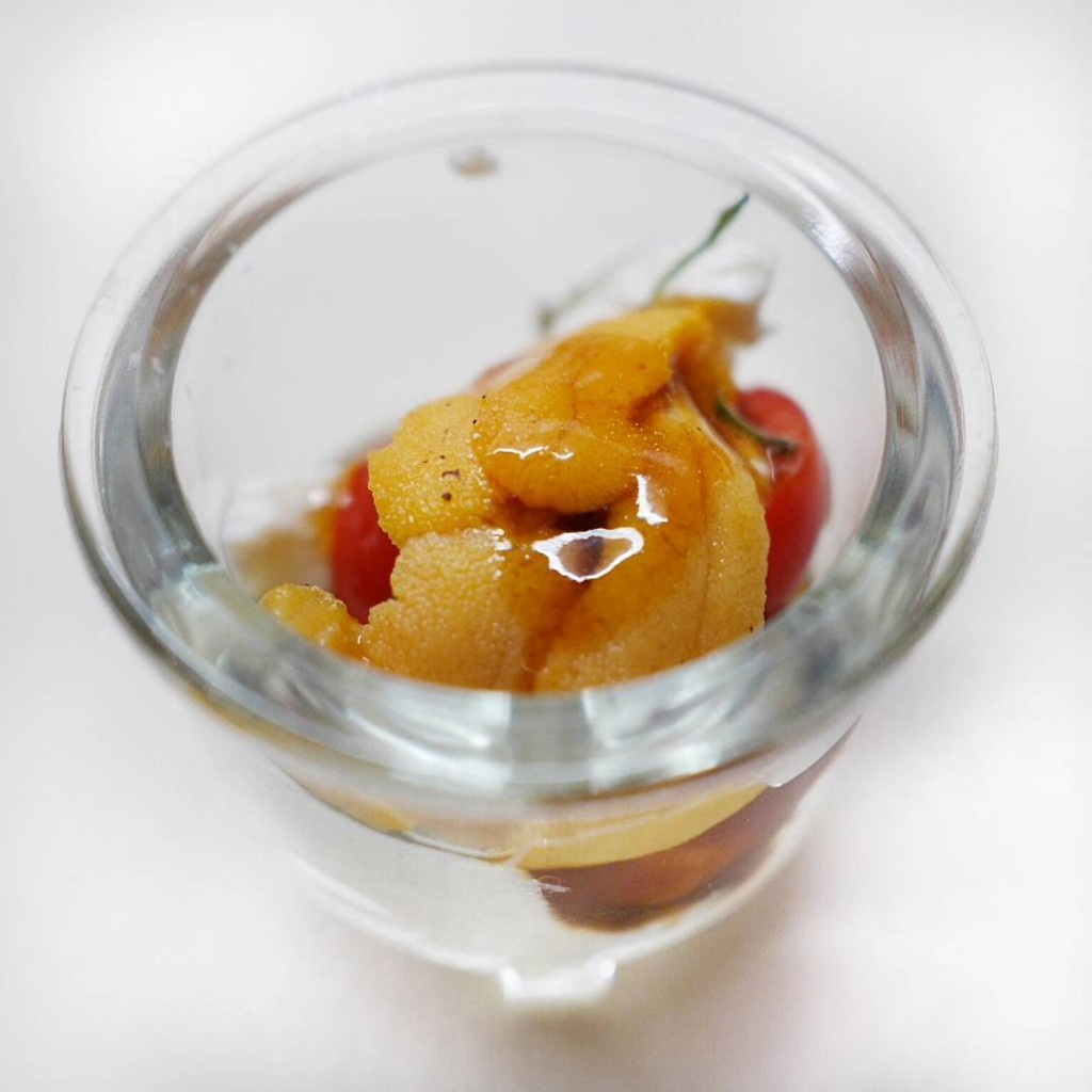 Love the colors of this simple amuse Marinated Japanese cherryhellip