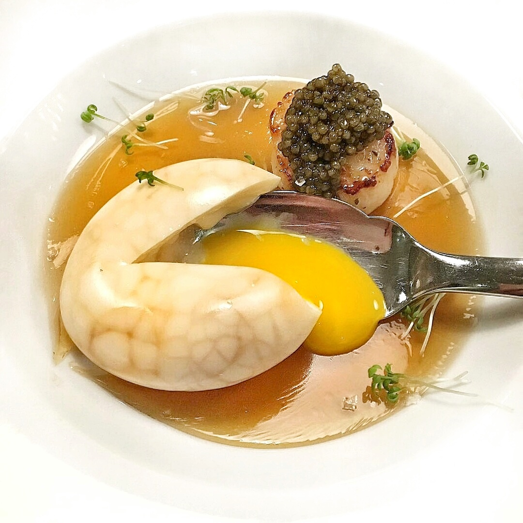 egg and scallop