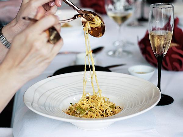 crab pasta from il lido restaurant